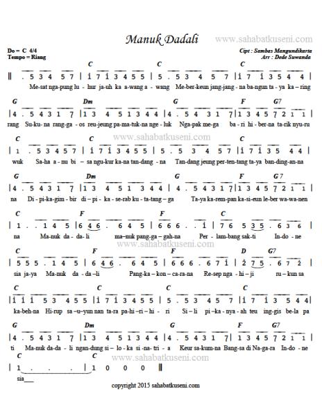 Chord Lagu Manuk Dadali